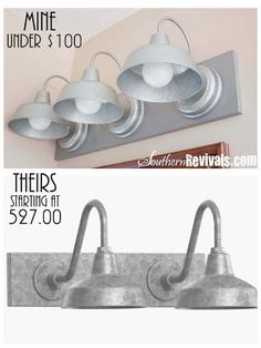 DIY Triple Galvanized Gooseneck Vanity Light Fixture for under 100 Southern Revivals Diy Light Fixtures, Vanity Light Fixtures, Vanity Lighting, Home Lighting, Lighting Ideas, Diy Luminaire, Diy Lampe, Bathroom Hacks, Bathroom Vanity Tops