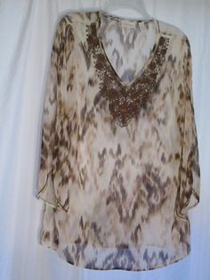 CHICO'S 1 (S) POLYESTER BROWN BEADED PRINT V-NECK TUNIC BLOUSE-$24,00 #Chicos #Tunic #Casual