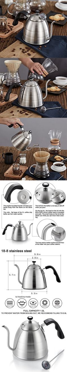 Pour Over Drip Coffee Kettle - Premium 18/8 Stainless Steel - Precise Thermometer - Easy Grip Handle- Long Spout for Smooth Water Flow - for Brew Coffee & Tea - by Creative Lifestyles (1 L)