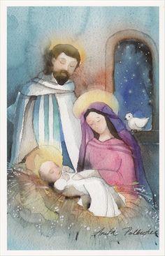 Anita Polkutie, Finland Christmas Bible, Merry Christmas To All, Christmas Nativity, Vintage Christmas Cards, A Christmas Story, Christmas Art, Vintage Cards, Christmas Holidays, Nativity Painting