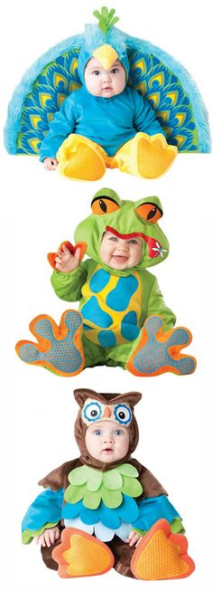 Cute cute baby Halloween Costumes!!! Precious Peacock, Lil Froggy Frog, and What a Hoot Owl
