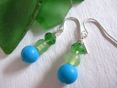 Turquoise Magnesite and Green Czech Glass Earrings. Starting at $1 on Tophatter.com!