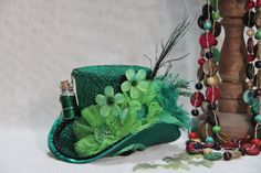 Green Mad Hatter Mini Top Hat, Fairy Vial, Steampunk Hat, Women Girls Fascinator For Tea Party Birthday Bachelorette photo prop And More