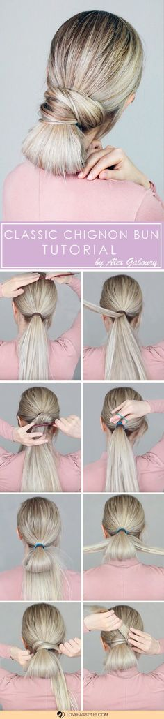 Easy Chignon Bun Tutorial #hairtutorial #chignonbun #easyhairstyles � Check out the tutorials for easy updos that every girl should try. Here you will see how you can make simple messy updos with braids, curls, bows and without a sock. � Check out the gallery!