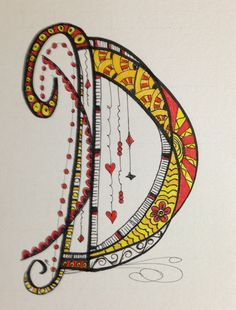 Zen Tangle / Doodle Art working on the alphabet.:: The letter looks like the harp unstrung or perhaps a light-catcher mobile under construction. Tangle Doodle, Doodles Zentangles, Zen Doodle, Zentangle Patterns, Doodle Art, Doodle Alphabet, Alphabet Art, Letter Art, Letters