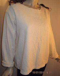 By Taylor U.S.A. Size L/XL Ivory Colored Textured Long Sleeve Top 100% Cotton  #Taylor #Pullover #Casual