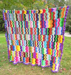 Colorful vintage crochet afghan throw blanket with multicolored chevrons zig zag pattern by belvidesigns, via Flickr