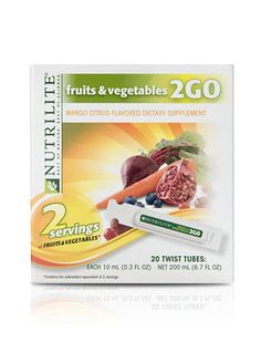 NUTRILITE® Fruits & Vegetables 2GO Twist Tubes.  Too busy to eat right? Give yourself a twist. NUTRILITE Fruits & Vegetables 2GO Twist Tubes give you the antioxidant equivalent of two of the 9–13 servings of fruits and vegetables your body needs in a convenient, squeezable tube. Simply twist into a cold, 16-oz. bottle of water and enjoy a refreshing Mango-Citrus treat anytime, anywhere.
