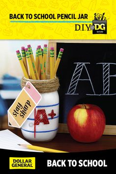 Back to School Pencil Jar Stay sharp! Show your students some A+ love when they come back to school this year! Swing by your local DG for supplies. Back To School Party, Back To School Crafts, Sunday School Crafts, School Parties, School Gifts, Dyi Teacher Gifts, Teaching Supplies, Teacher Appreciation Week, Mason Jar Crafts