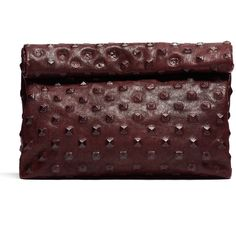 Rental Marie Turnor Pyramid Stud Lunch Clutch ($45) ❤ liked on Polyvore featuring bags, handbags, clutches, red, red handbags, fold over purse, genuine leather purse, marie turnor and red purse