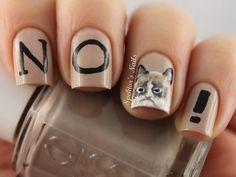Grumpy Cat Nails. Haha.