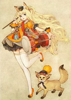 Cute drummer girl and fox