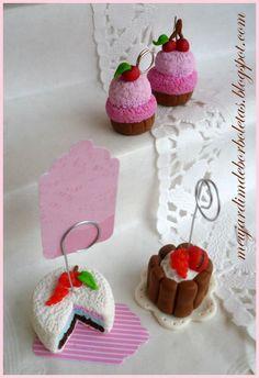 Pendentes Cupcake e porta foto Cake em fimo By Val  http://meujardimdeborboletas.blogspot.pt/