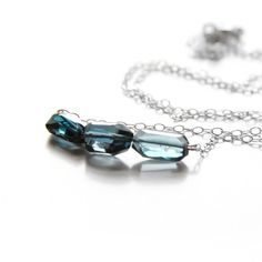 London Blue Topaz Necklace.  Samantha Bird designer.   On Fab website.   Silver necklace.   $60.  Seems almost too good to be true!