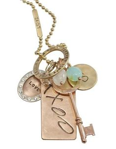 Heather Moore necklace: Gold ID tag, oval and round charm necklace