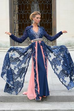Moroccan blue caftan in three layers#moroccancaftan