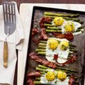 Bacon and Eggs over Asparagus- Going to try this, but with Chicken Sausage from Trader Joe's.