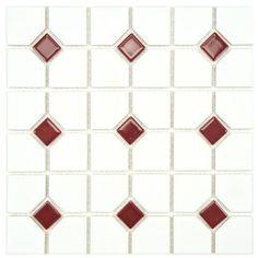 """Oxford Matte White w/Maroon Dot 11.5""""x11.5"""" Porcelain Mosaic"""