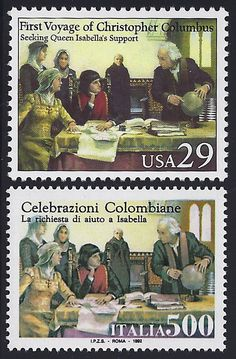 United States Scott #2620 (24 Apr 1992) Columbus seeking Queen Isabella's support.  Joint issue: 500th Anniversary of the First Voyage of Christopher Columbus.  Italy Scott #1877 (24 Apr 1992) Columbus seeking Queen Isabella's support.