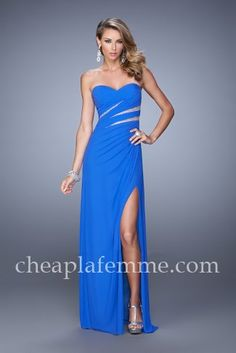 Ruching Electric Blue Sweetheart Slit Prom Gown by La Femme 21157