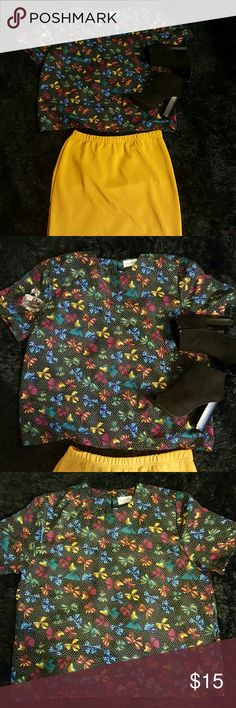 Date night short sleeve blouse Bows in multi color w/black & white polka dots Tops