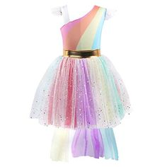 97954203d21d Girls Unicorn Dress up Costume Rainbow Sequins Tulle Ruffle Skirt Birthday Dresses  Tutu Outfit Kids Princess