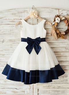 On Sale Distinct Navy Blue Bridesmaid Dresses Round Neck Black And Navy Satin Lovely Simple Flower Girl Dresses With Bow Sash, Frocks For Girls, Little Girl Dresses, Girls Dresses, Bow Dresses, Peasant Dresses, Prom Dress, Fashion Dresses, Baby Frocks Designs, Kids Frocks Design