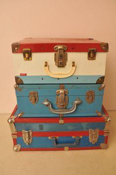 Vintage Red and Blue Roller Skate Cases 1960s 1970s