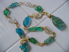 Handmade beaded jewelry - Sea Glass Necklace - so many different styles of beautiful jewellery