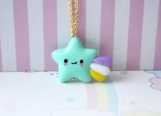Kawaii Shooting Star Necklace, Handmade Polymer clay Pastel Color Jewelry - gift…