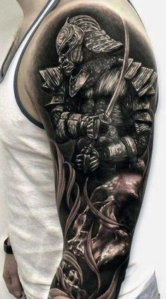 There are thousands of years of history behind every Samurai tattoo, so everything has to be done perfectly. Here are 70 great samurai tattoo designs. Samurai Warrior Tattoo, Warrior Tattoos, Badass Tattoos, Cool Tattoos, Samurai Tattoo Sleeve, Japanese Warrior Tattoo, Warrior Tattoo Sleeve, Samurai Helmet, Armor Tattoo