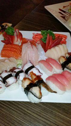Assorted sushi and sashimi.