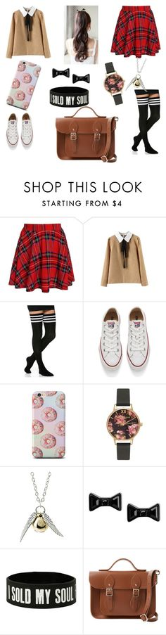 """Japanese highschooler?"" by vanillawitch ❤ liked on Polyvore featuring Converse, Olivia Burton, Marc by Marc Jacobs and The Cambridge Satchel Company"