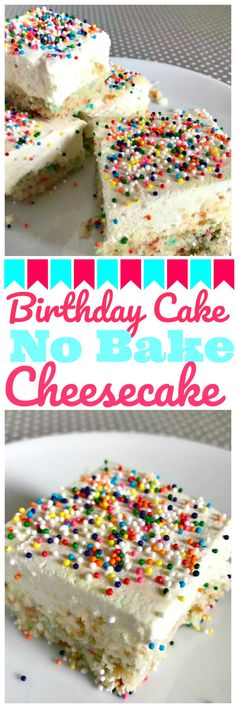 Need a great no bake dessert? Try these birthday cake no bake cheesecake bars! Perfect for a holiday dessert, a birthday party, or even a potluck!