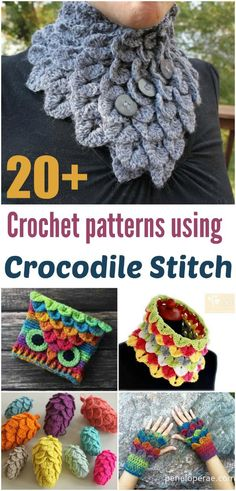 Crochet patterns that all use the Crocodile Stitch.  Fun and varied selection of crochet patterns to try.