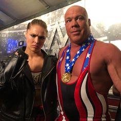 #TeamMcMahon @stephaniemcmahon and @tripleh take on #TeamRousey @rondarousey and @therealkurtangle! #WrestleMania #WWE