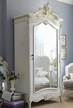 "Nowadays, more and more people are utilizing the ""shabby chic"" approach to interior design and decoration. Style At Home, French Armoire, White Armoire, Vintage Armoire, Vintage Closet, Bedroom Vintage, French Mirror, Painted Armoire, Vintage Wardrobe"