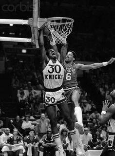 Bernard King (New York Knicks) and Julius Erving