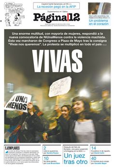 """Campaña """"Ni una menos"""". 04-06-2016 Newspaper Layout, Social, Movie Posters, World, Buenos Aires, Diary Book, Calendar Date, Reading, Film Poster"""