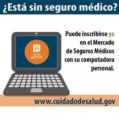 Puedes inscribirte en el Mercado de Salud en línea: www.cuidadodesaludgov. #Asegurate