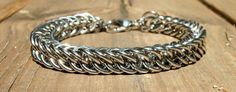Bracelet Men Stainless Steel Chainmaille 9.5 inch by Faroutmaille, $70.00