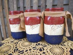 Americana   Americana Mason Jar   Hand Painted by RagsandBerries