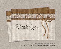 DIY Printable #Rustic #Wedding Thank You Card by iDesignStationery, $4.95
