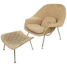 Eero Saarinen - Womb chair and Ottoman - FI - Womb Chair, Eero Saarinen, Leather Lounge, Mid Century Chair, Office Interior Design, Chairs For Sale, Chair And Ottoman, Chair Design, Chinese Architecture