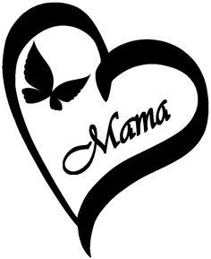 Ein schönes Herz mit Schmetterling und dem Text Mama als Vorlage für viele Ideen.