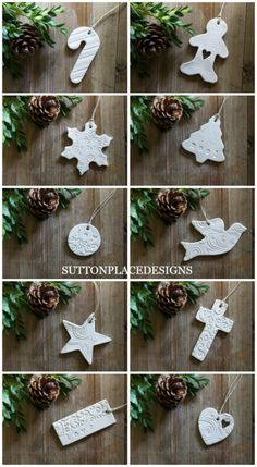 Christmas Clay Tags 2015 | Collection of handmade clay tags for your holiday decorating. Use for Christmas tree ornaments, gift tie-ons, garlands, napkin holders and more.