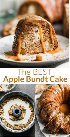 Apple Bundt Cake made with diced apples, a cream cheese swirl, and a simple homemade caramel sauce that's drizzled over each slice of cake--it's to die for! via @betrfromscratch Apple Bundt Cake Recipes, Apple Recipes, Fall Recipes, Apple Cake, Sweets Cake, Cupcake Cakes, Bundt Cakes, Cupcakes, Delicious Desserts