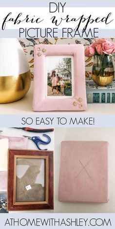 DIY fabric picture frame. How to upholster a picture frame- instructions. How to wrap a picture frame with fabric. Decorating ideas and how to make a fabric covered frame.
