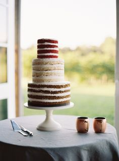 Red Velvet Vanilla and Chocolate Naked Cake | photography by http://www.erickelleyphotography.com/