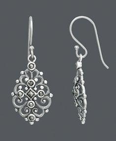 Genevieve & Grace Sterling Silver Earrings, Marcasite Filigree Teardrop Earrings - Earrings - Jewelry & Watches - Macy's